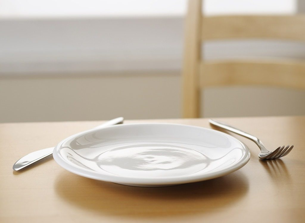 empty white plate with fork and knife