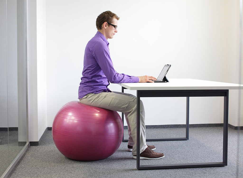 Working on a stability ball